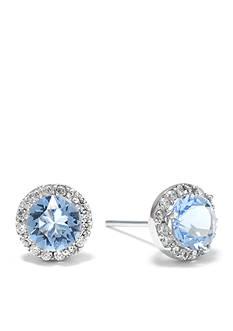 Belk Silverworks Sterling Silver Aquamarine Swarovski Crystal Halo Stud Boxed Earring