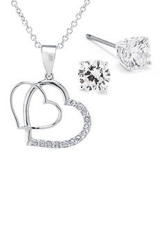 Belk Silverworks Fine Silver Plated Double Heart Cubic Zirconia Pendant and Stud Earrings Boxed Set
