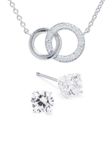 Belk Silverworks Fine Silver Plated Cubic Zirconia Double Circle Necklace and Stud Earring Boxed Set