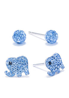 Belk Silverworks Sterling Silver 4-mm. Light Blue Crystal Pave Ball and Elephant Stud Earring Set