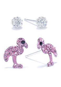 Belk Silverworks Sterling Silver Clear Crystal Pave Ball and Pink Crystal Pave Flamingo Stud Set