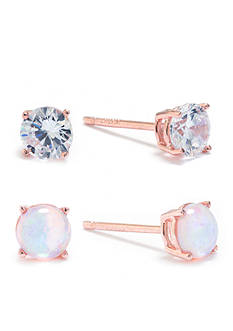 Belk Silverworks Rose Gold Over Sterling Silver Opal and Cubic Zirconia Stud Set