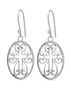 Belk Silverworks Sterling Silver Cutout Cross Oval Drop Earrings
