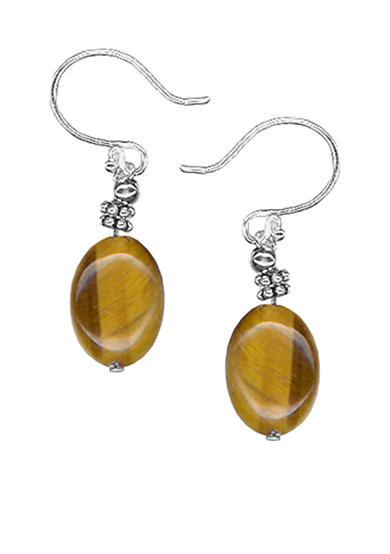Belk Silverworks Sterling Silver Tiger Eye Oval Bead Drop Earring