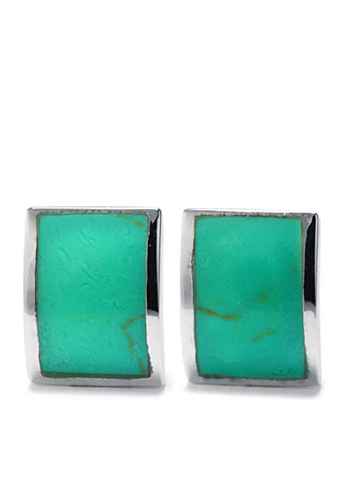 Belk Silverworks Sterling Silver Curved Rectangular Simulated Turquoise Inlay Earrings