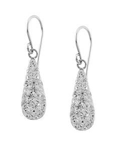 Belk Silverworks Sterling Silver Clear Pave Crystal Teardrop Earrings
