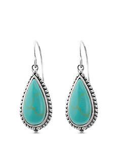 Belk Silverworks Sterling Silver Reconstituted Turquoise Tear Wire Earrings