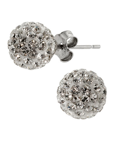 Belk Silverworks Sterling Silver and Clear Pave Crystal 8-mm. Ball Stud Earrings