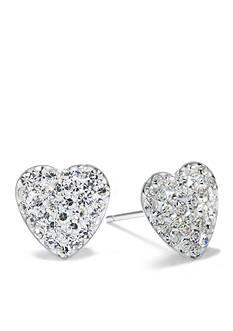Belk Silverworks Sterling Silver Crystal Heart Stud Earrings