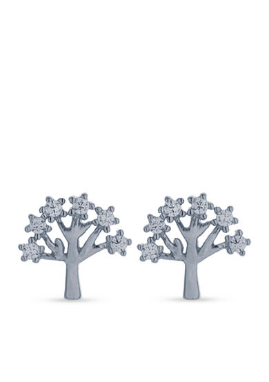 Belk Silverworks Sterling Silver High Polished Tree Stud Earrings