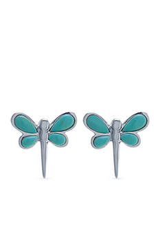 Belk Silverworks Sterling Silver Simulated Turquoise Dragonfly Stud Earrings