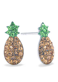 Belk Silverworks Sterling Silver Crystal Pave Pineapple Stud Earrings