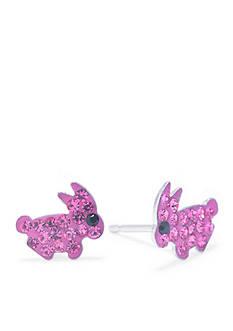 Belk Silverworks Sterling Silver Pink Crystal Pave Bunny Stud Earrings