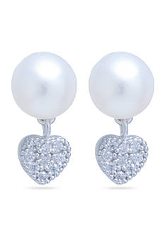 Belk Silverworks Sterling Silver Freshwater Pearl And Cubic Zirconia Pave Mini Heart Stud Earrings
