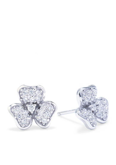 Belk Silverworks Sterling Silver Cubic Zircnia Pave Flower Stud Earrings