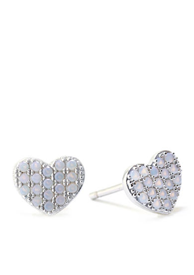 Belk Silverworks Sterling Silver White Created Opal Heart Stud Earrings