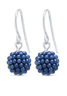 Belk Silverworks Sterling Silver Grape Caviar Pearl Pave Ball Drop Earrings