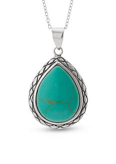 Belk Silverworks Sterling Silver Reconstituted Turquoise Tear Pendant Necklace