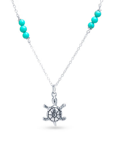 Belk Silverworks Sterling Silver Simulated Turquoise Beaded and Turtle Charm Necklace