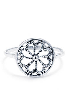 Belk Silverworks Sterling Silver Textured Round Flower Ring - Size 8