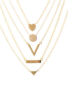Belk Silverworks Gold Plated Silverworks 5-piece Necklace Set