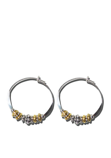 Belk Silverworks Sterling Silver And Mix Metal Beaded Hoop Earrings