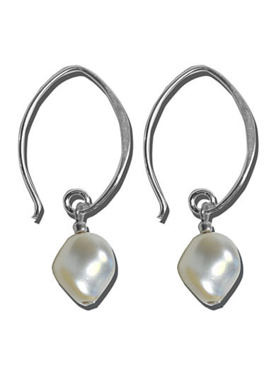 Belk Silverworks Sterling Silver Austrian Crystal Twist Pearl French Wire Earrings