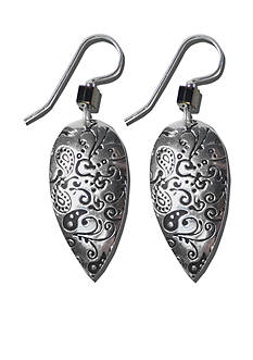 Belk Silverworks Sterling Silver French Wire Earrings With Silver-Plated Textured Teardrops