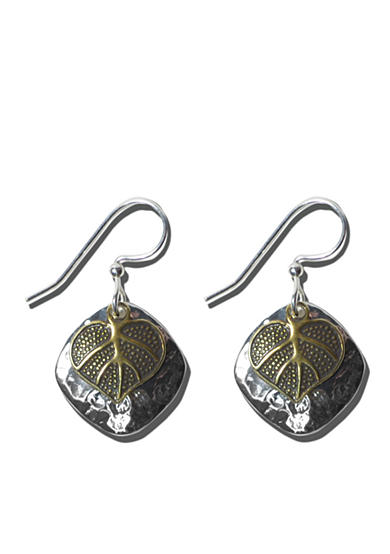 Belk Silverworks Sterling Silver French Wire Earrings With Mix Metal Disc And Leaf Drops