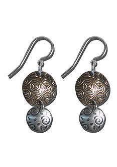 Belk Silverworks Sterling Silver French Wire Earrings With Mix Metal Disc Drops