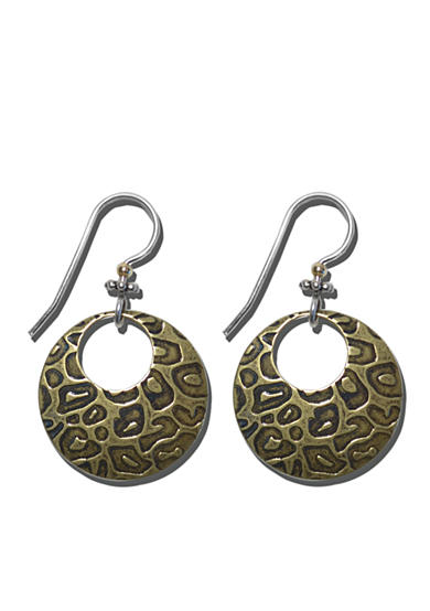 Belk Silverworks Sterling Silver French Wire Earrings With Textured Leopard Print Bronze Drops