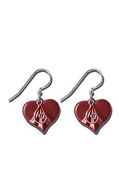Belk Silverworks Sterling Silver French Wire Red Patina Heart Swirl Earrings