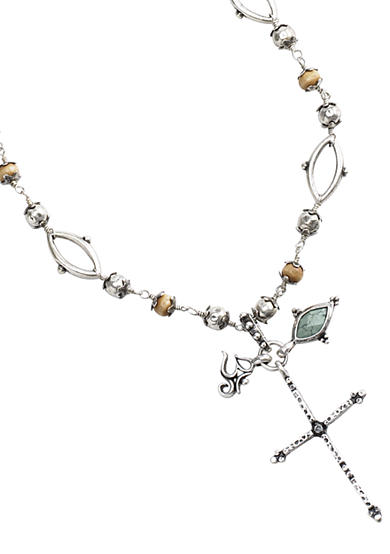 Lucky Brand Beaded Cross Charm Necklace