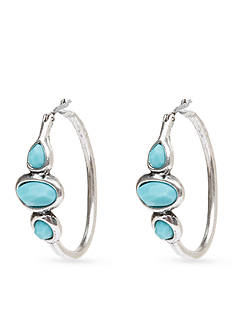 Lucky Brand Turquoise Stone Hoop Earring