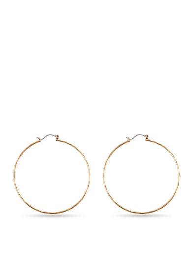 Lucky Brand Large Gold Hammered Hoop
