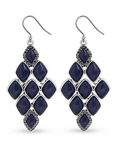 Lucky Brand Jewelry Silver-Tone Lapis and Pave Drop Earring