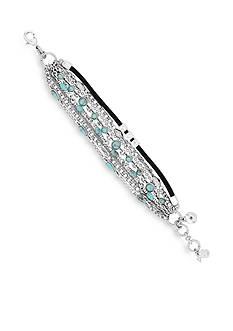Lucky Brand Silver-Tone Mini Turquoise Wrap Bracelet