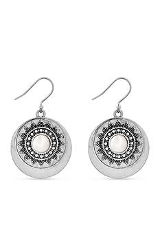 Lucky Brand Silver-Tone Pearl Circle Drop Earrings