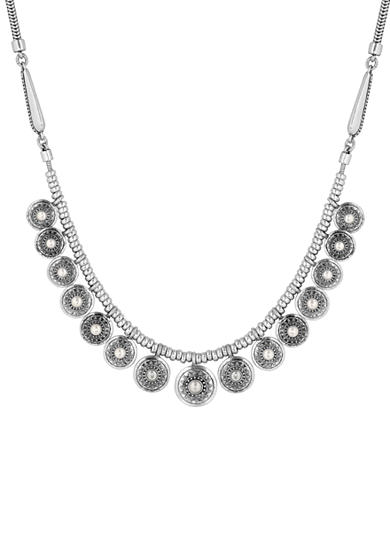 Lucky Brand Jewelry Silver-Tone Pearl Collar Necklace