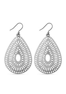 Lucky Brand Jewelry Silver-Tone Openwork Teardrop Earrings