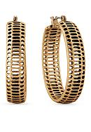 Lucky Brand Jewelry Gold-Tone Abstract Hoop