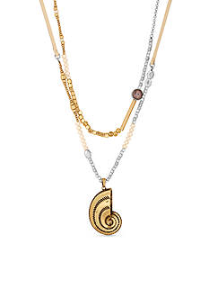 Lucky Brand Jewelry Two-Tone Abalone Shell Layered Necklace