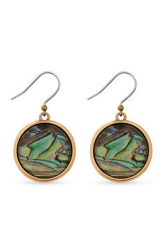 Lucky Brand Jewelry Gold-Tone Abalone Drop Earrings