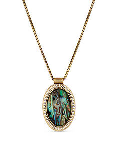 Lucky Brand Jewelry Gold-Tone Abalone Pendant Necklace