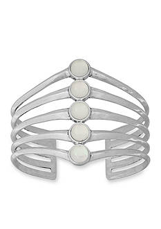 Lucky Brand Silver-Tone Moonstone Stack Cuff Bracelet