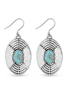 Lucky Brand Jewelry Silver-Tone Openwork Turquoise Earrings