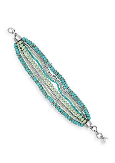 Lucky Brand Jewelry Silver-Tone Turquoise Beaded Bracelet