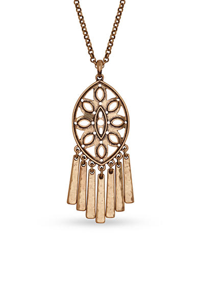 Lucky Brand Gold-Tone Openwork Long Pendant Necklace