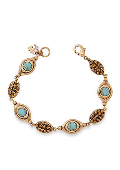 Lucky Brand Gold-Tone Turquoise Link Bracelet