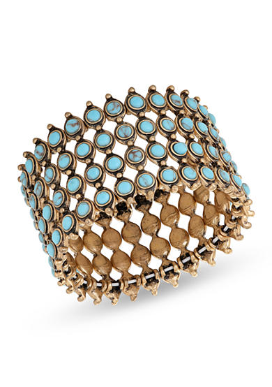 Lucky Brand Gold-Tone Turquoise Statement Cuff Bracelet